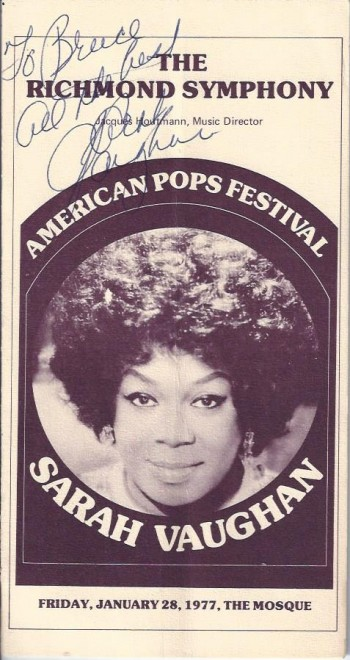 Image for Sarah Vaughan Autograph, on Program
