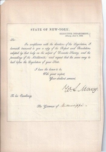 Image for New York Governor, William L. Marcy, Signed Document to Governor of Mississippi, 1836, re. Slavery and Abolition