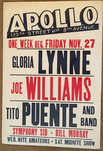 Image for Apollo Theatre Poster: Gloria Lynne, Joe Williams, Tito Puente