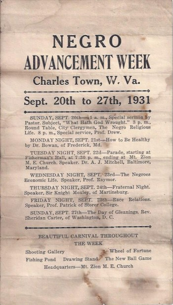 Image for Negro Advancement Week Handbill, Charles Town West Virginia, 1931