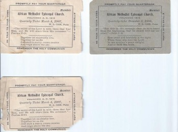 Image for St. John's African Methodist Episcopal Church Quarterly Tickets, 1906-1907
