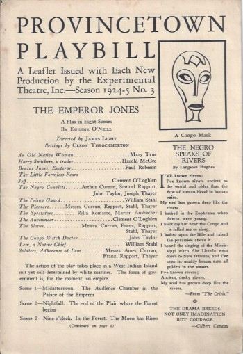 Image for The Emperor Jones, Provincetown Playbill, Program, 1924-5, Paul Robeson