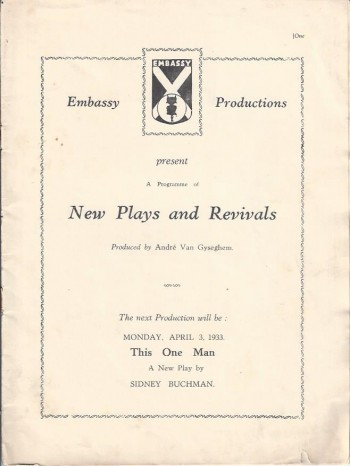 Image for All God's Chillun Got Wings, Program, Embassy Theatre, 1933
