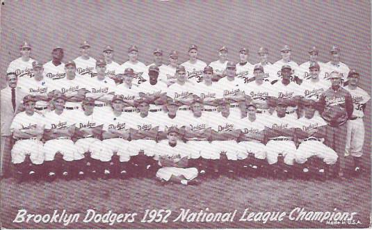 Image for Brooklyn Dodgers, Team Postcard, 1952 National League Champions
