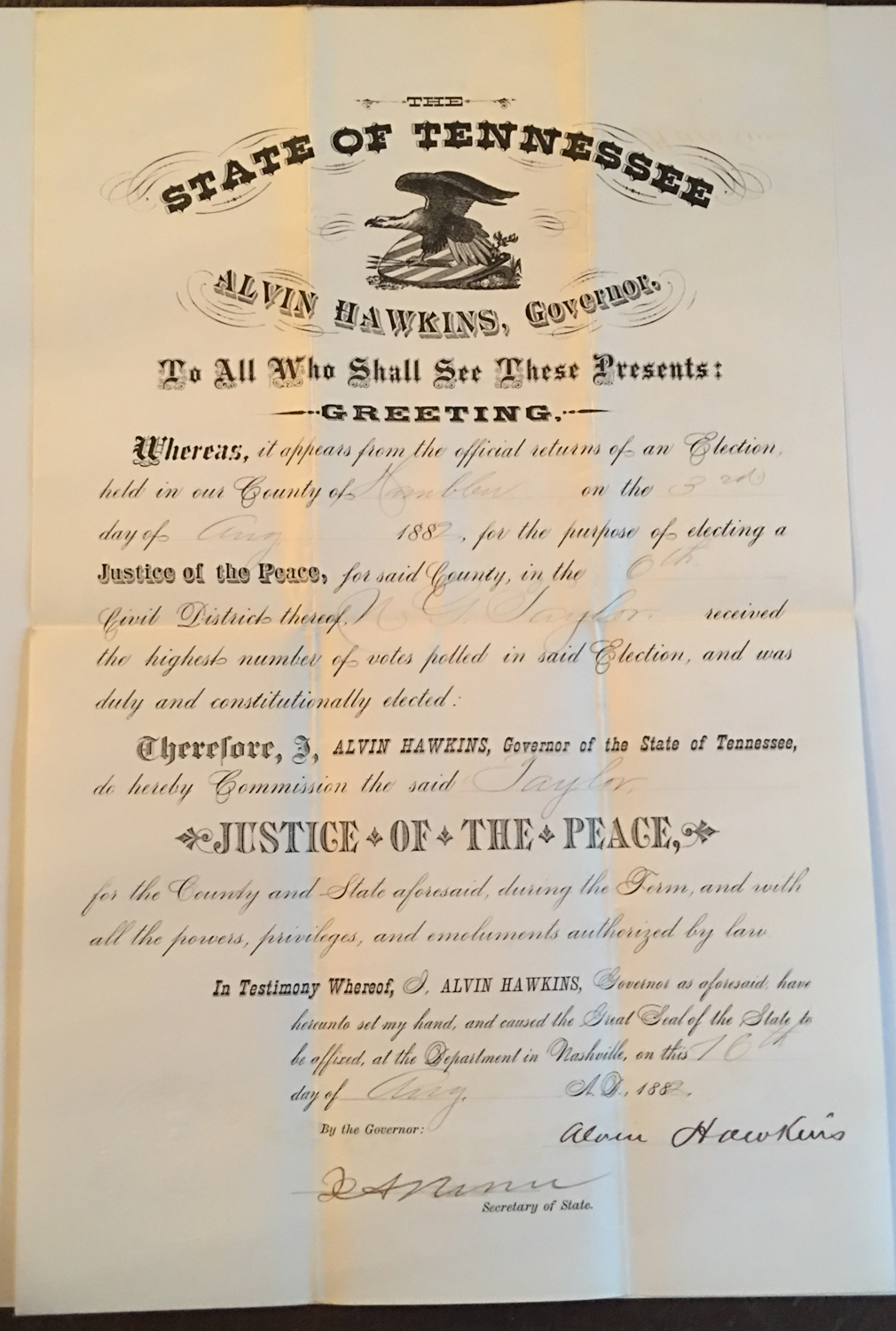 Image for Alvin Hawkins, Governor of Tennessee, Signed Commission to Nathaniel G. Taylor, 1882