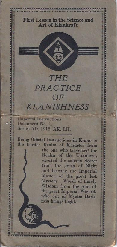 Image for The Practice of Klanishness: First Lesson in the Science and Art of Klankraft