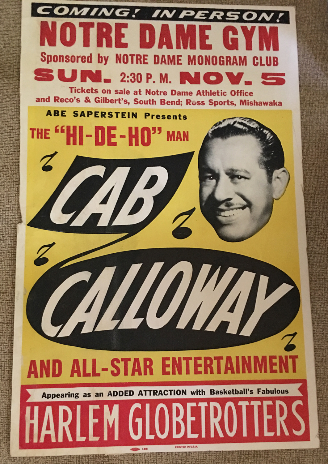 Image for Cab Calloway / Harlem Globetrotters, Notre Dame University Window Card, 1961