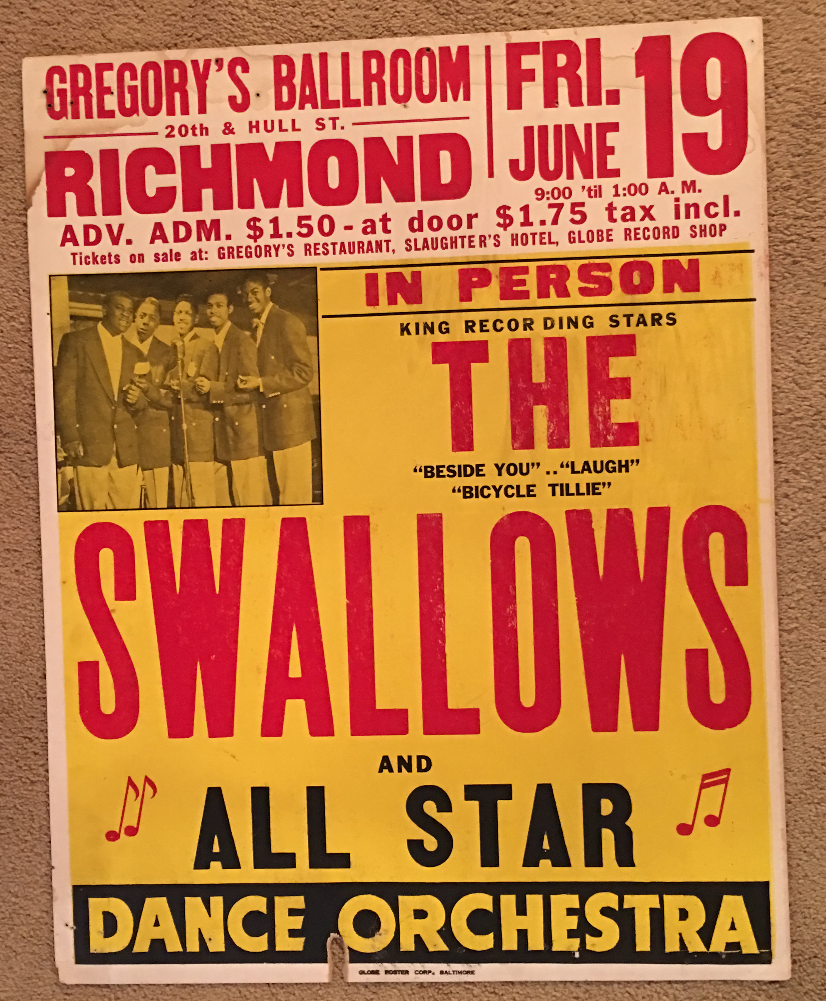Image for The Swallows, 1953, Boxing-Style Jumbo Globe Concert Poster, Richmond Virginia