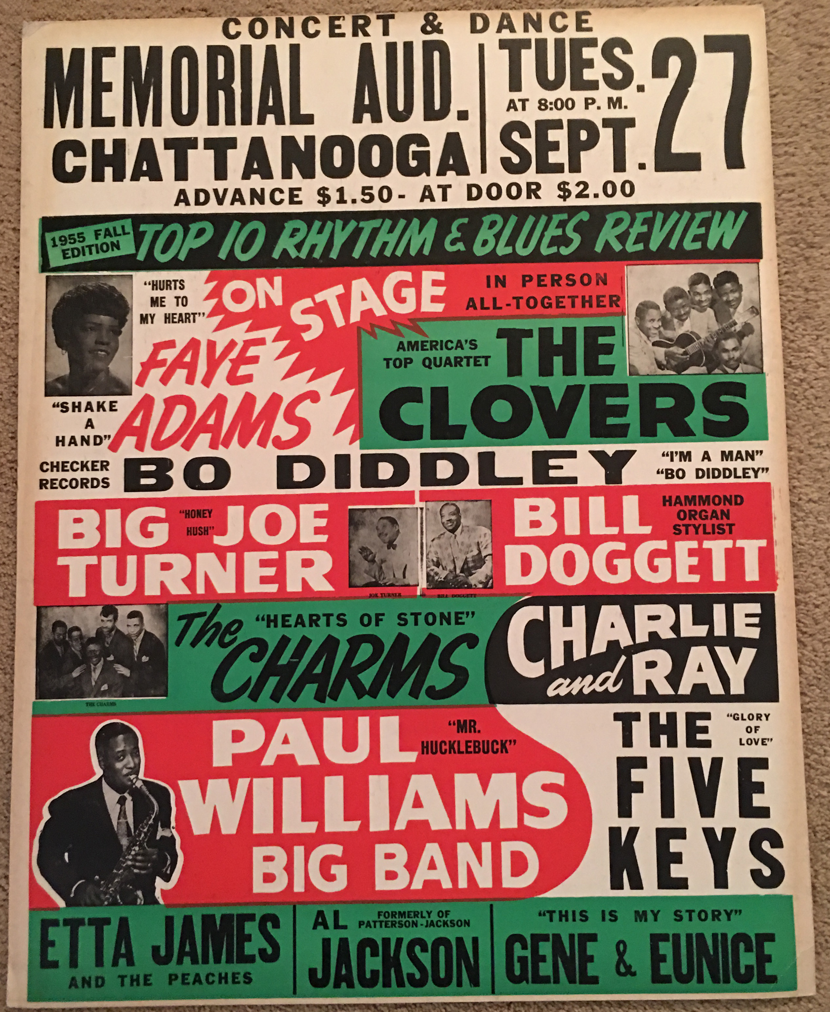 Image for Bo Diddley / Etta James / Big Joe Turner R&B Concert Poster, Chattanooga, 1955
