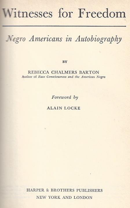 Image for Witnesses for Freedom: Negro Americans in Autobiography