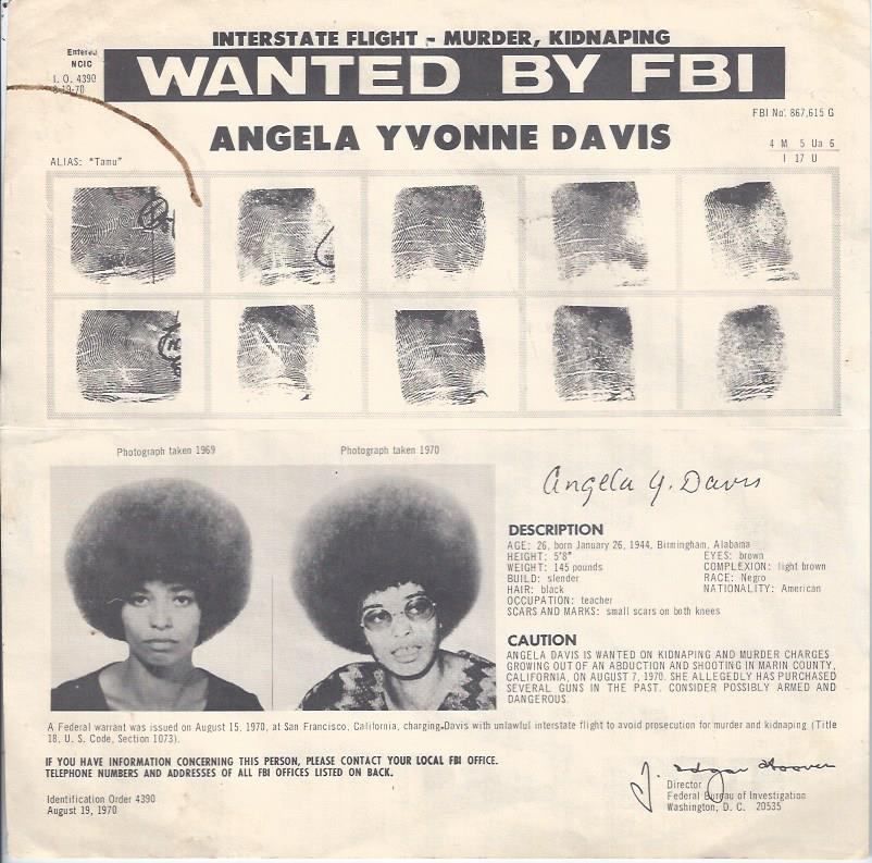 Image for Angela Davis, Wanted Poster Mailer from FBI