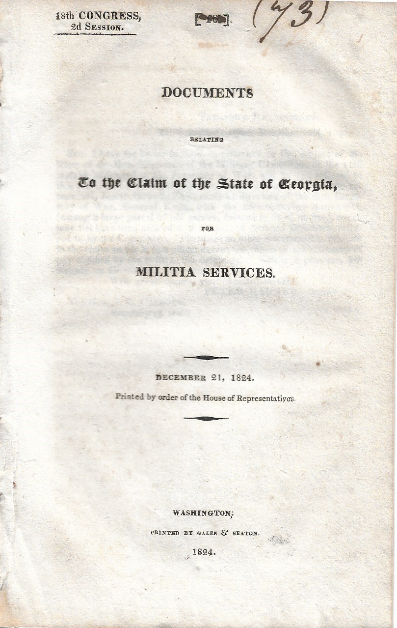Image for Documents Relating to the Claims of the State of Georgia for Militia Services