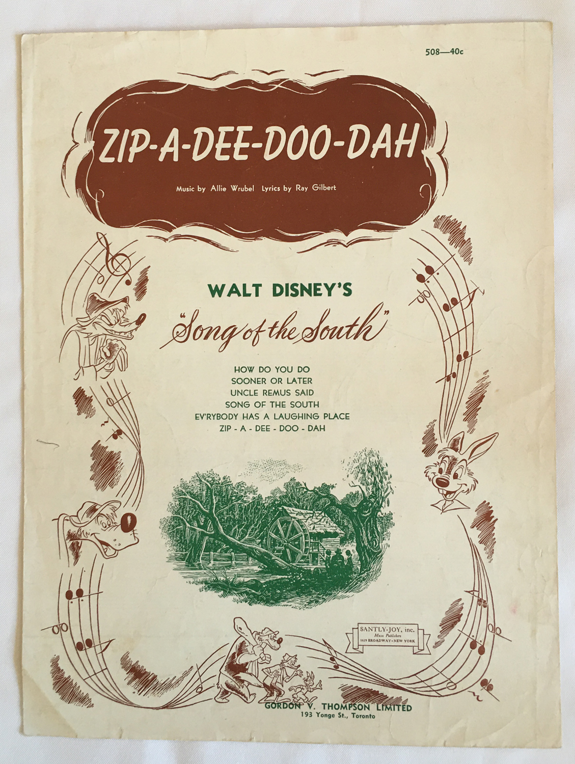 Image for Zip-A-Dee-Doo-Dah, Sheet Music