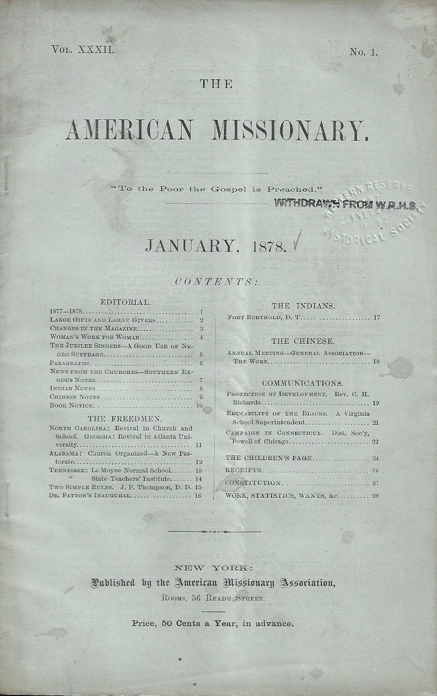 Image for The American Missionary, January 1878