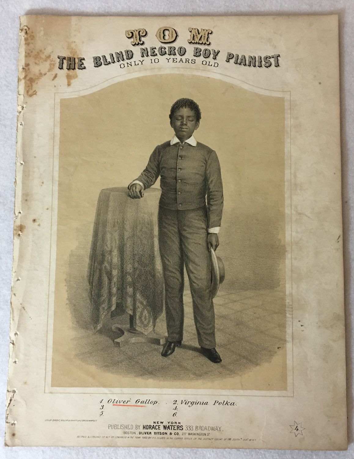"Image for Tom, The Blind Negro Boy Pianist, Only 10 Years Old, ""Oliver's Gallop"""