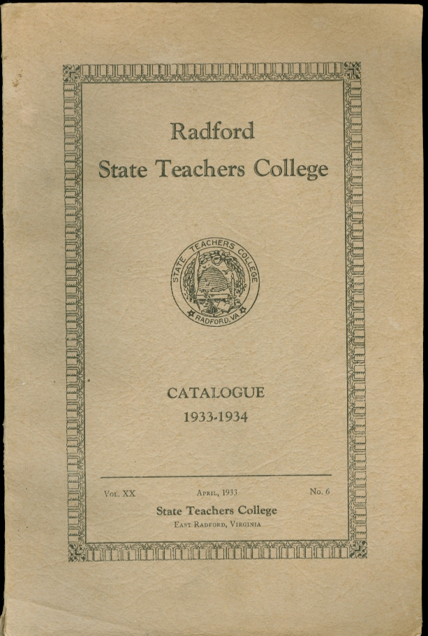 Image for Radford State Teachers College Catalogue 1933 - 1934