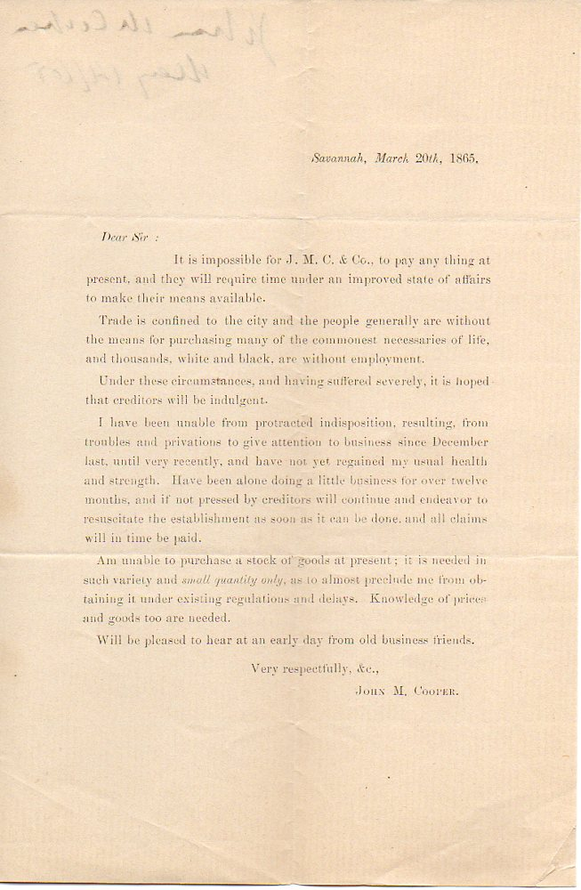 Image for Savannah Steam Press Letter about Effects of Civil War
