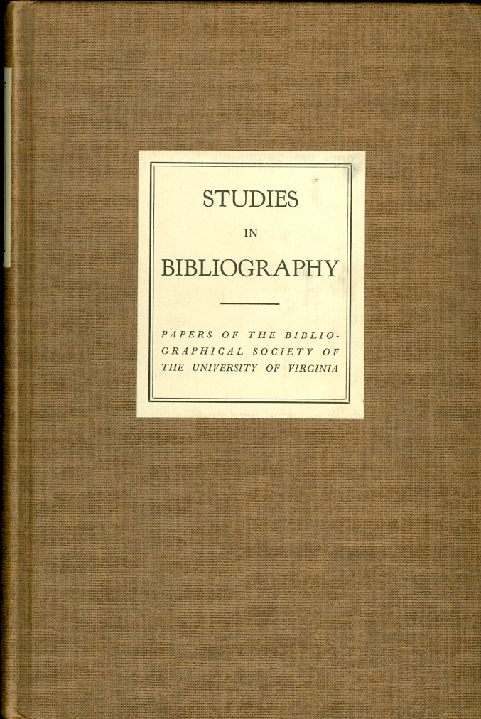 Image for Studies in Bibliography Papers of the Bibliographical Society of the University of Virginia