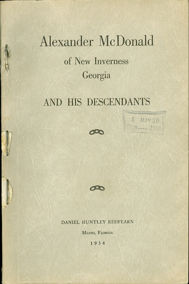 Image for Alexander Mcdonald of New Inverness Georgia And His Descendants