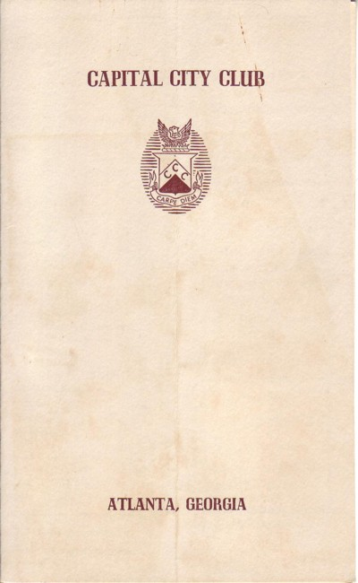 Image for Capital City Club, Atlanta Georgia  :Menu, March 10, 1953