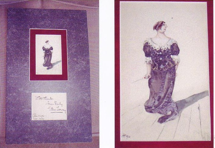 Image for Watercolor Postcard Portrait of Ellen Terry, with Signature