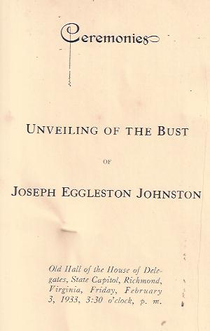 Image for Ceremonies Unveiling of the Bust of Joseph Eggleston Johnston Great Virginians