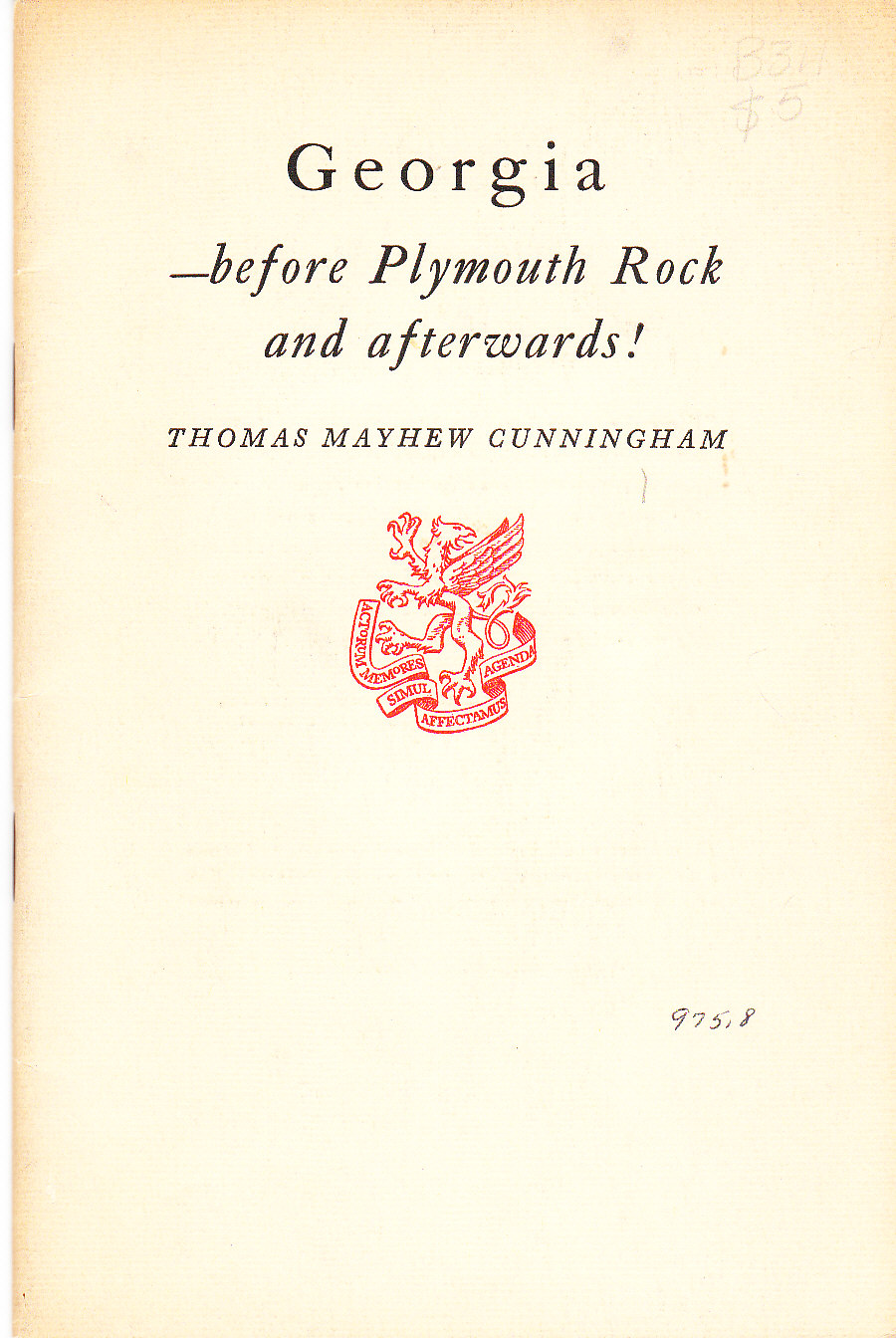 Image for Georgia -- before Plymouth Rock and Afterwards!