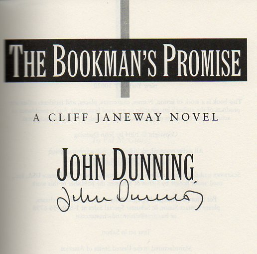 Image for The Bookman's Promise A Clif Janeway Novel