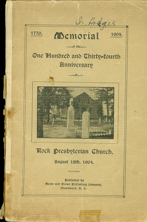 Image for Memorial of the One Hundredth and Thirty-Fourth Anniversary Rock Presbyterian Church August 18th, 1904