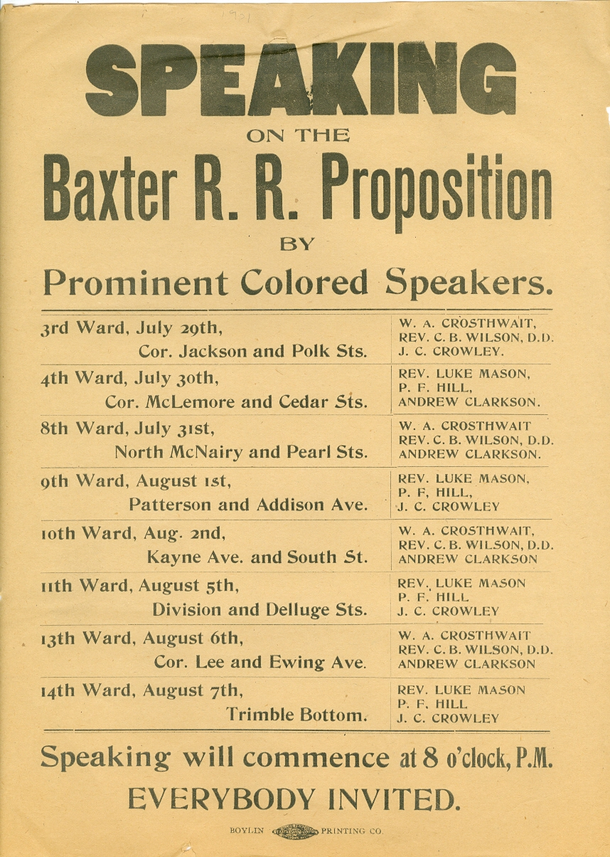 Image for Speaking on the Baxter R. R. Proposition by Prominent Colored Speakers