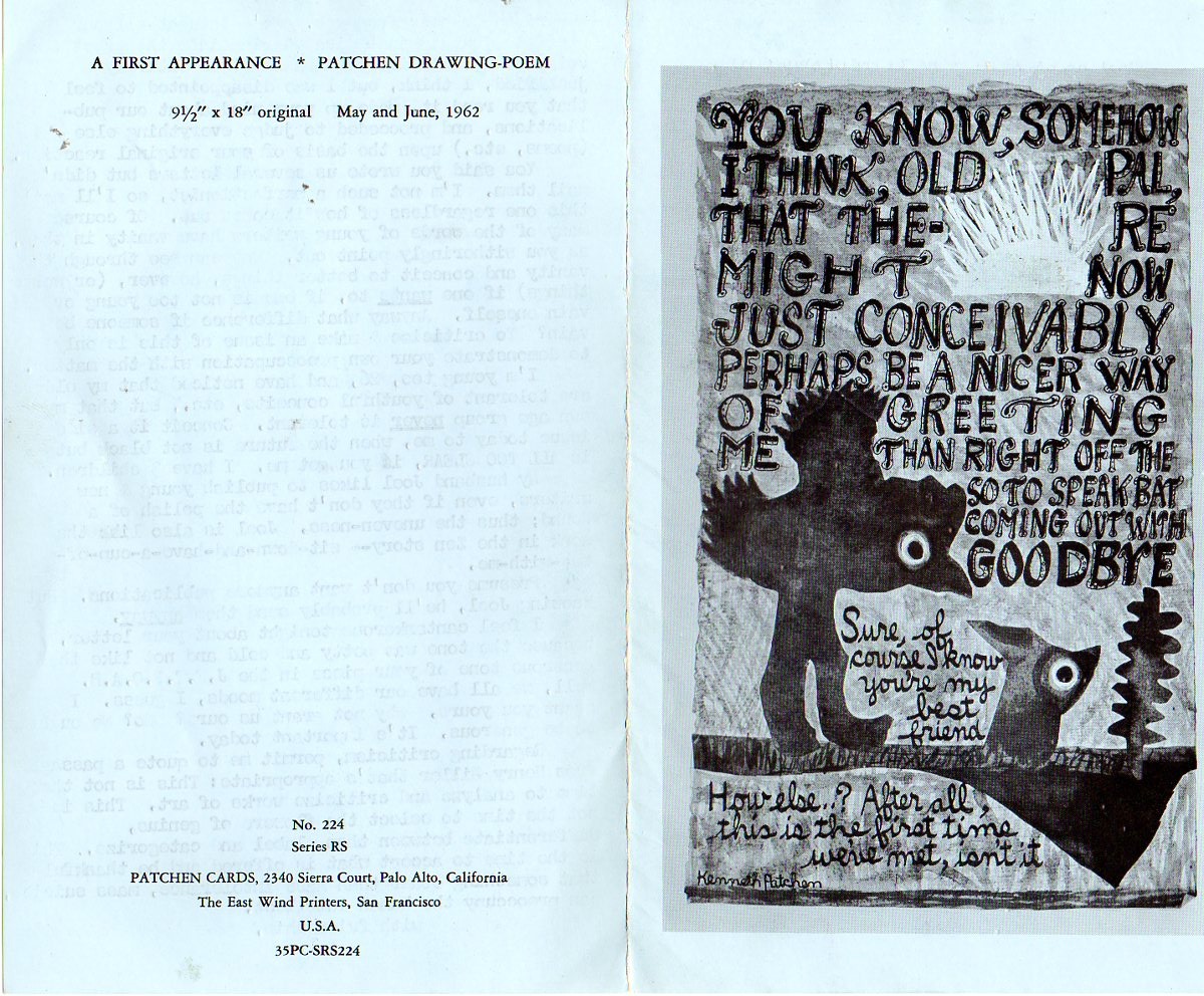 Image for Letter to David Meltzer of City Lights Books, Typed on Kenneth Patchen Card with Poem and Drawing by Patchen