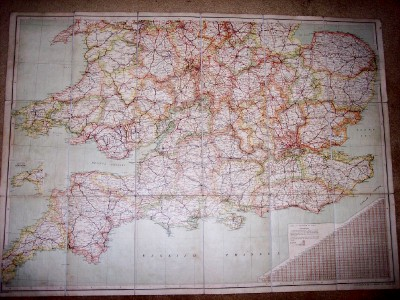 Image for Map of England and Wales Showing Railways, Roads and Distances (2 Folding Sheets)