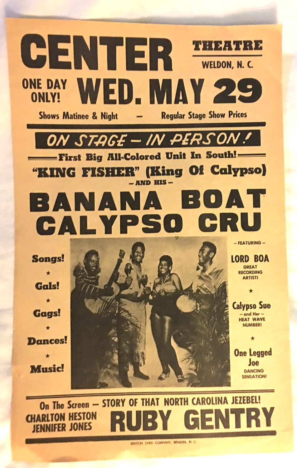 "Image for Broadside -- ""King Fisher"" (King of Calypso) and his Banana Boat Cru On Stage -- In Person"
