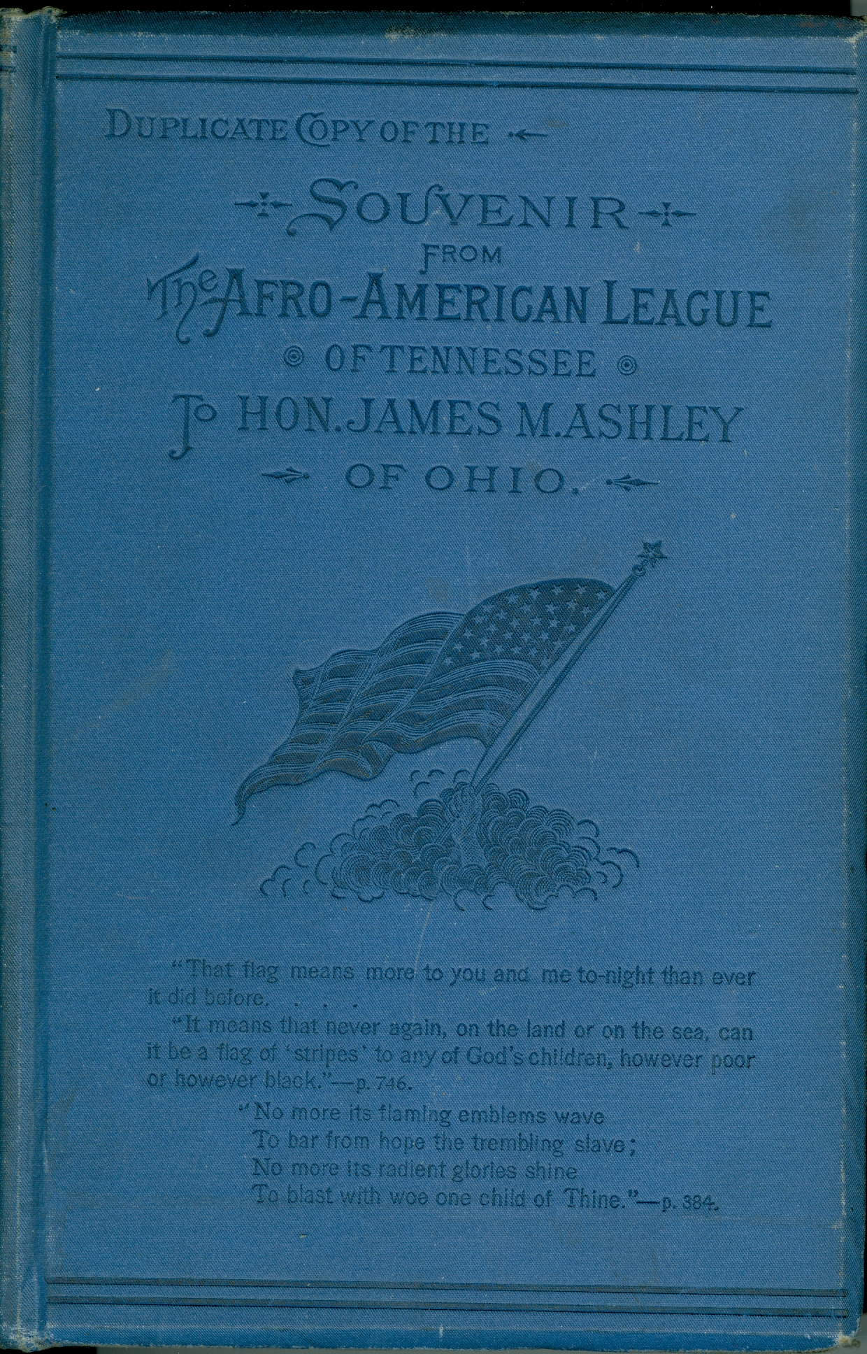 Image for Duplicate Copy of the Souvenir from the Afro-American League of Tennessee to Hon. James M. Ashley of Ohio