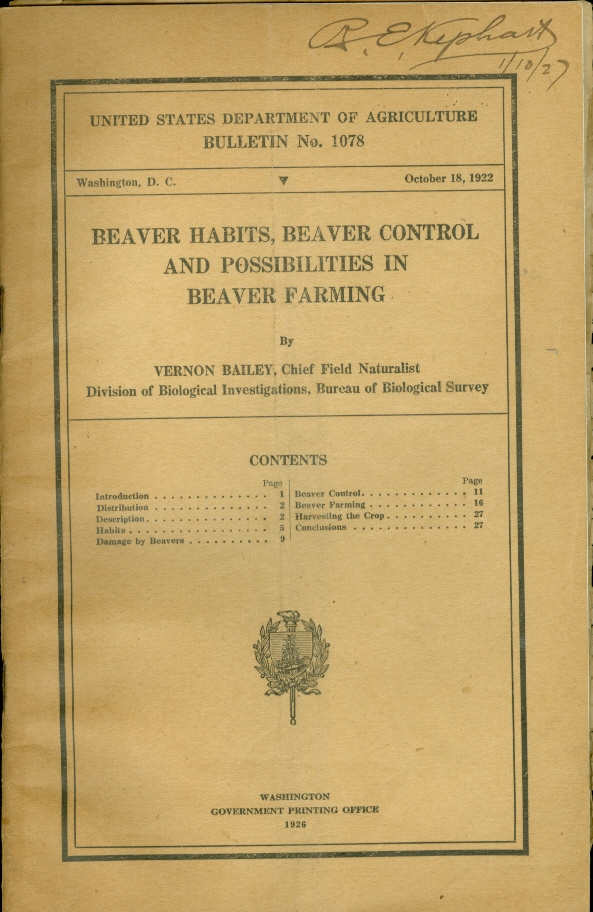 Image for Beaver Habits, Beaver Control and Possibilities in Beaver Farming